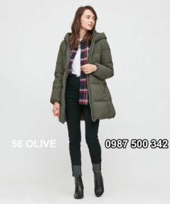 Áo lông vũ nữ đại hàn dáng lỡ Uniqlo Seamless Down 429467 màu xanh rêu 56 OLIVE