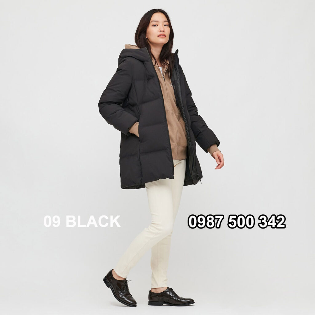 Áo lông vũ nữ đại hàn dáng lỡ Uniqlo Seamless Down 429467 màu đen 09 BLACK