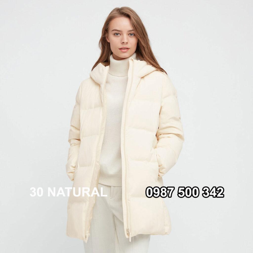 Áo lông vũ nữ đại hàn dáng lỡ Uniqlo Seamless Down 429467 màu kem 30 NATURAL