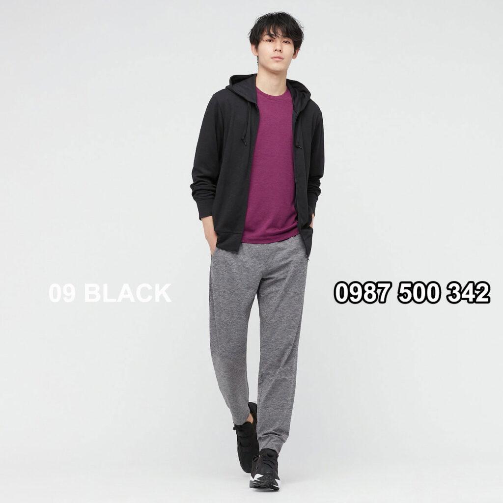 Áo chống nắng nam Uniqlo màu đen 09 BLACK 433049