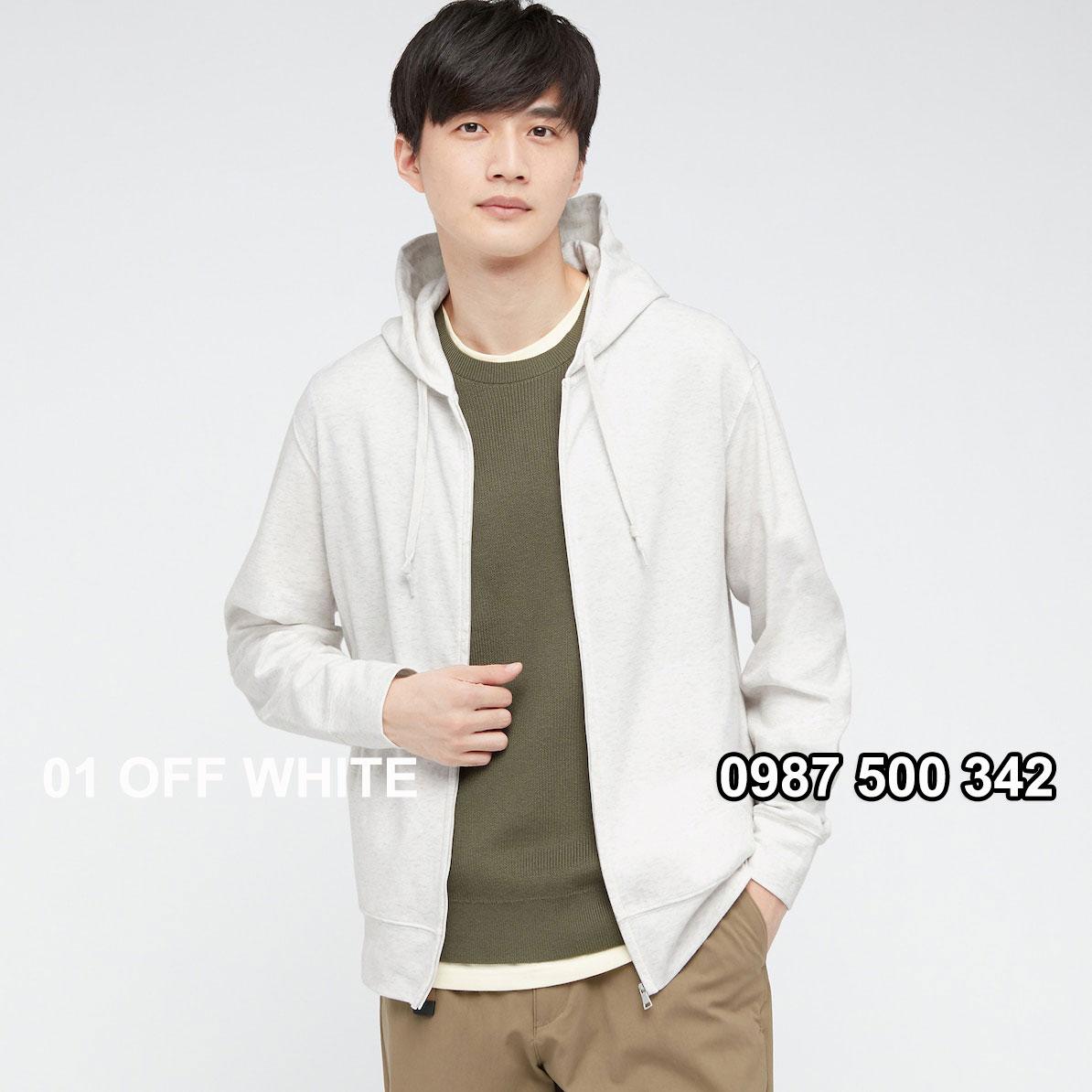 Áo chống nắng nam Uniqlo màu trắng 01 OFF WHITE 433049