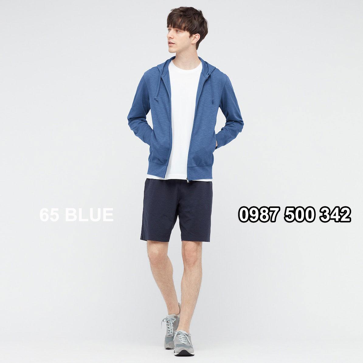 Áo chống nắng nam Uniqlo màu xanh biển 65 BLUE 433049