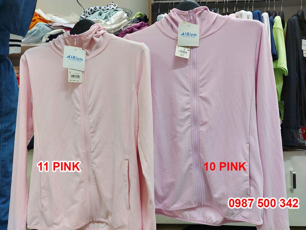 Ảnh thật áo chống nắng Uniqlo màu hồng nhạt 11 PINK và hồng tím 10 PINK