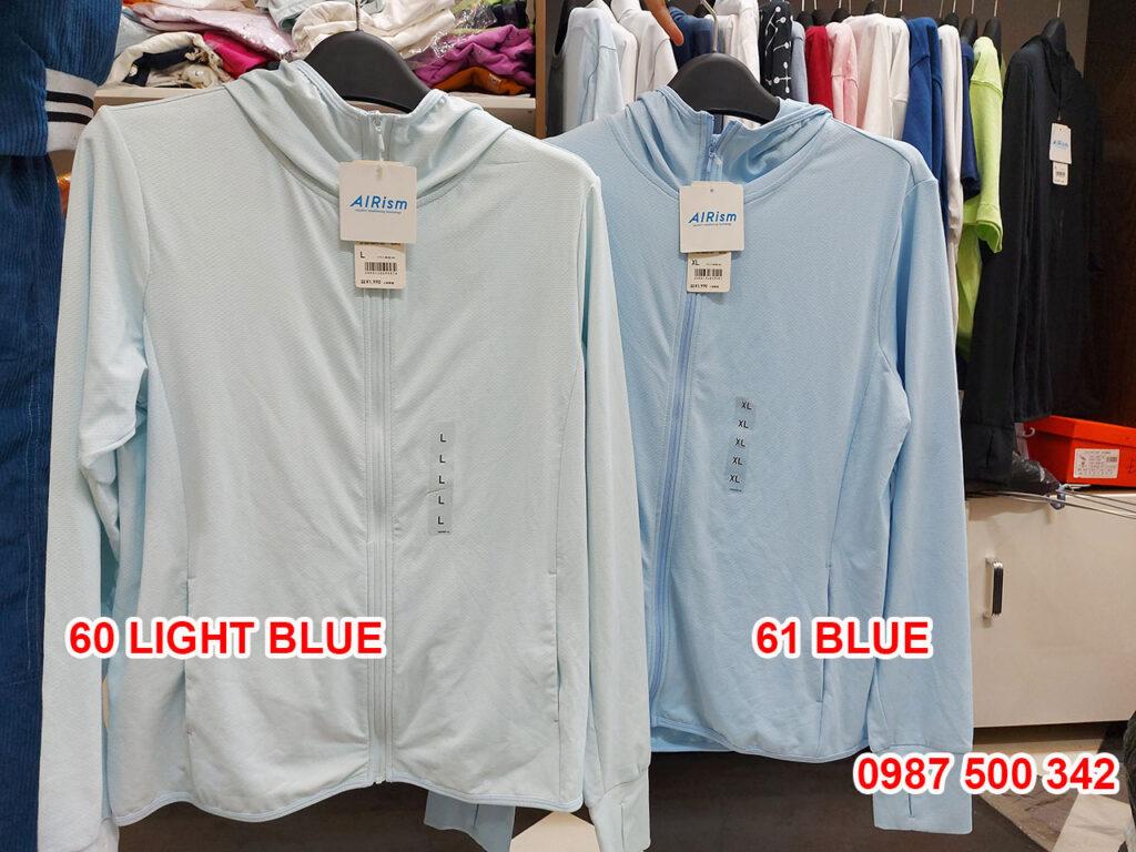 Ảnh thật áo chống nắng Uniqlo màu xanh da trời nhạt 60 LIGHT BLUE và xanh da trời đậm 61 BLUE