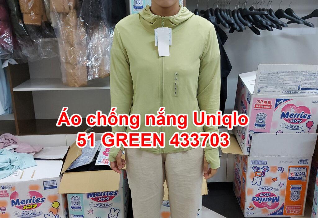 Áo chống nắng Uniqlo 2021 màu vàng cốm 51 GREEN 433703