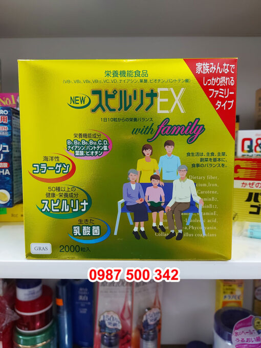 Tảo xoắn Spirulina EX with Family Nhật Bản hộp vàng 2000 viên