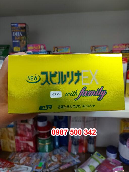 Nắp hộp Tảo xoắn Spirulina EX with Family Nhật Bản hộp vàng 2000 viên